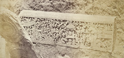 Large sculptured frieze slab from Amravati, photographed on site after the Government excavations of 1880